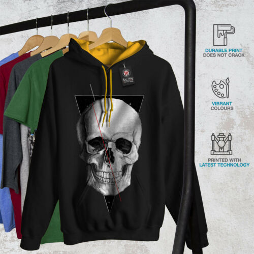 Wellcoda Cool Skull Minimal Mens Contrast Hoodie Spooky Casual Jumper