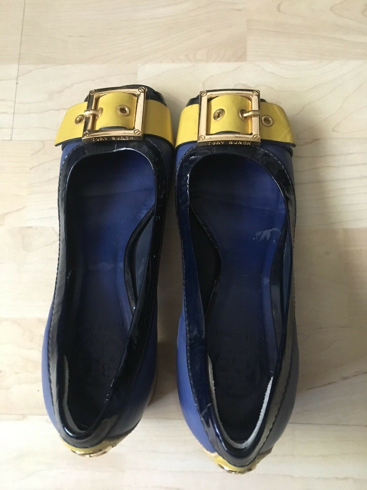 Tory Burch Blau and Gelb Block Pump sz. sz. sz. 7M 0fb789