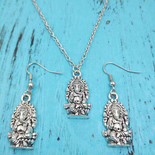 Bijoux en argent ensembles Creative Gifts Ganesha Buddha Collier Boucle d/'oreille Pendentifs