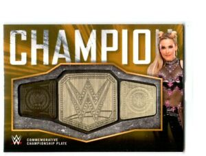 WWE-Natalya-2018-Topps-Gold-Women-039-s-Title-Belt-Plate-Relic-Card-SN-7-of-10