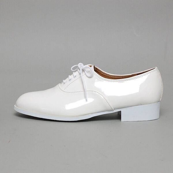 Men's synthetic leather glossy white oxfords low heels dress shoes US 6-11