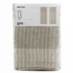 IKEA-BIRTINE-2-Gardinen-Gardinenpaar-in-beige-145x300cm-Vorhang-Vorhaenge-Leinen