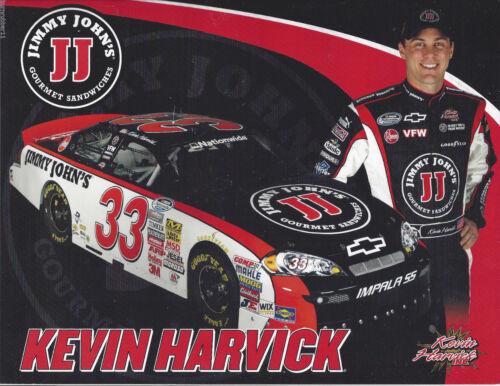 "2009 KEVIN HARVICK /""JIMMY JOHNS/"" #33 NASCAR NATIONWIDE SERIES POSTCARD"