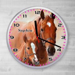 Details zu Kinder Wanduhr Pferd Fohlen Kinderzimmer Uhr Mädchen Kinderuhr  kein Ticken