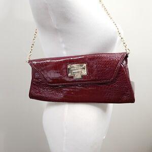 3db1e906872 Details about Anne Klein Maroon Merlot Croco Chain Strap Shoulder Bag Gold  Flap