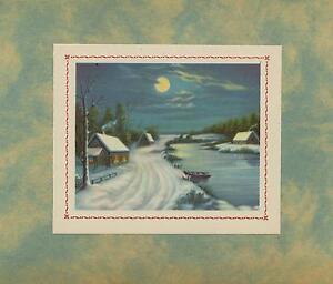 VINTAGE SNOW WINTER HOUSE LANDSCAPE BOAT FULL MOON STREAM LITHO OLD ART PRINT