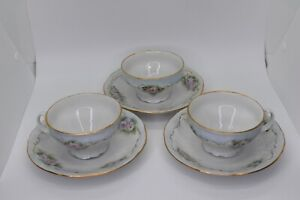 * Bernadotte * Sonata White W/ Green Pink Gold & Blue Floral 3 Teacups & Saucers