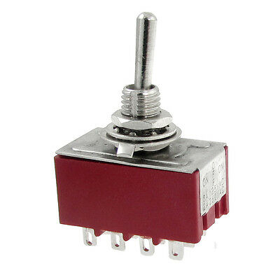 2A/250VAC 6A/125VAC on-off-on 3 Way 4P2T 4PDT Toggle Switch 12 Solder Terminals
