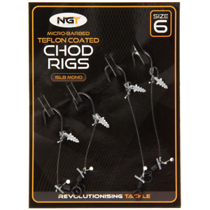 ngt Chod Rigs 2 Short and 2 Long with Teflon Hooks 15lb Mono micro barbed size 6