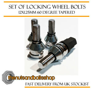 Locking Wheel Bolts 12x1.25 Nuts Tapered for Citroen C2 04-09