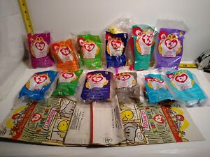 TY McDonald/'s Teenie Beanie Babies 1998 Set of 12 Happy Meal MWMT NIP Unopened