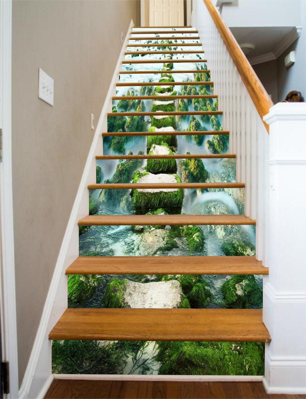 3D Stones Mosses 71 Stair Risers Decoration Photo Mural Vinyl Decal Wallpaper AU