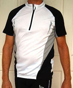 Cycling-Bike-Jersey-Sport-MTB-Black-White-Men-Unisex-M-L-XL