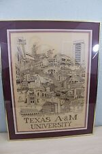 Texas A&M Aggies University 1980 Wallace Hughes SIGNED 141/650 Print Framed