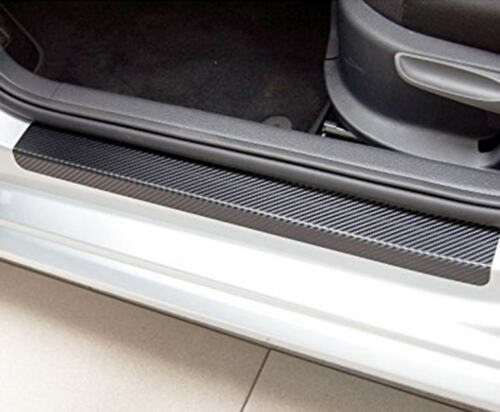 4XBlack 3D Carbon Fiber Look Car Off-Road Door Plate Door Sill Scuff Plate Decal