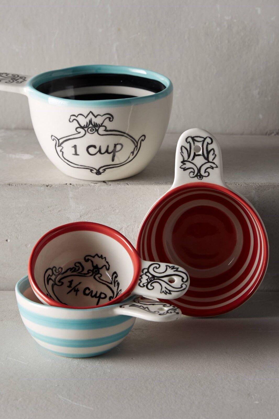 Anthropologie Measuring Cups MOLLY HATCH Set 4 couronné Leaf Grès Neuf Avec étiquettes