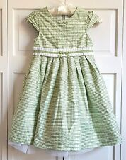 Gymboree Dress SIZE 7 Celebrate Spring Gingham Green White Crinoline Silk  EUC