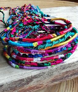 Hand-woven-Silk-Friendship-Bracelets-or-Anklet-Set-of-6-Thin-Round-String