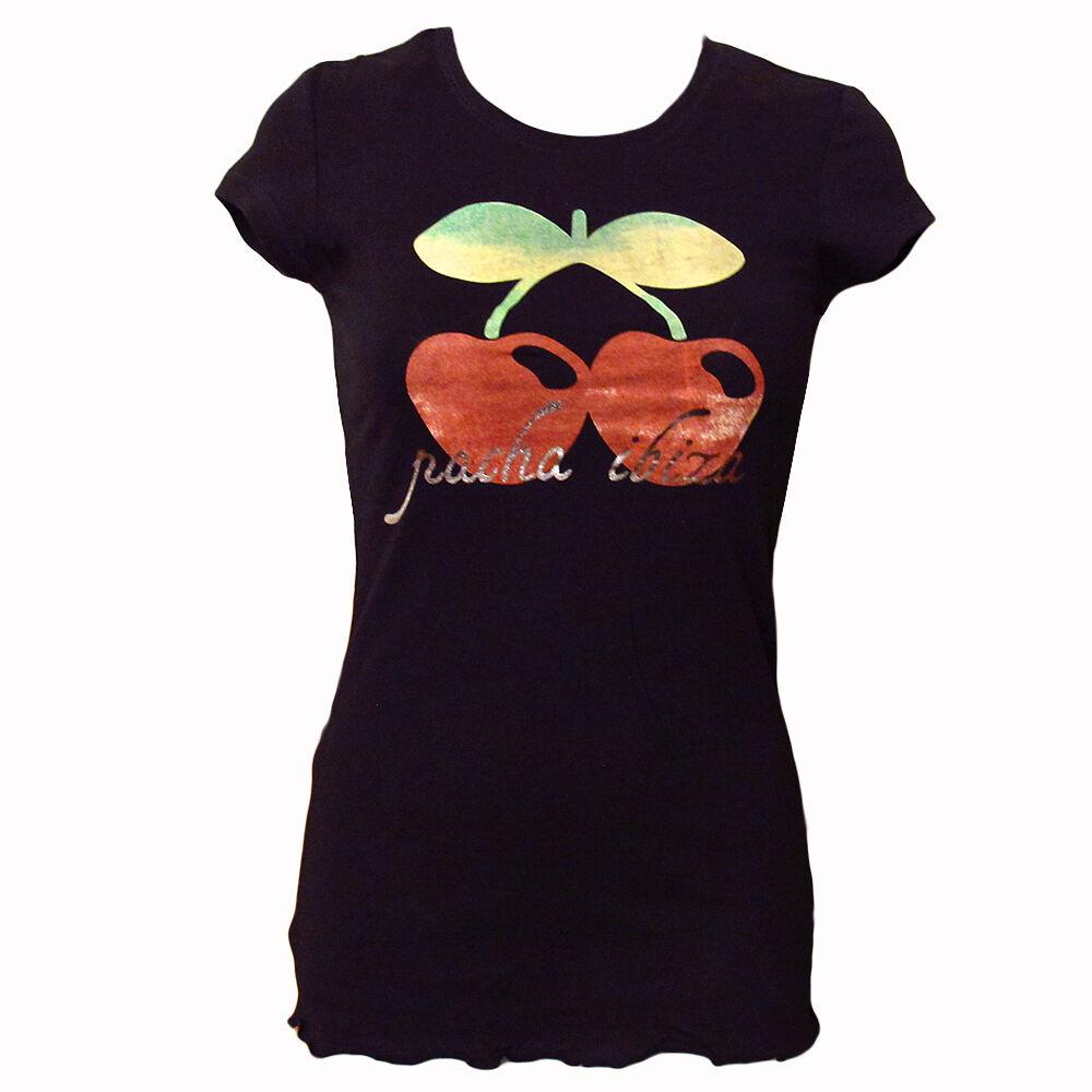 Ufficiale Pacha Ibiza Donna T-Shirt Logo Acquerello Ciliegia Nero RRP