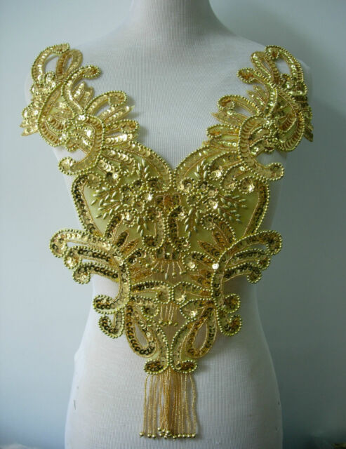 BD10 Fringed Bodice Sequin Beaded Applique Gold Floral Motif for Dancewear/Tutu