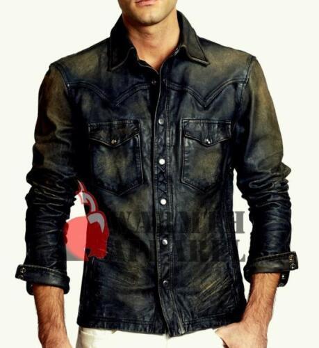 echt Stretch randontwerp verdraaid leder Western Mannelijk zwart shirt heren Tp4SzTq