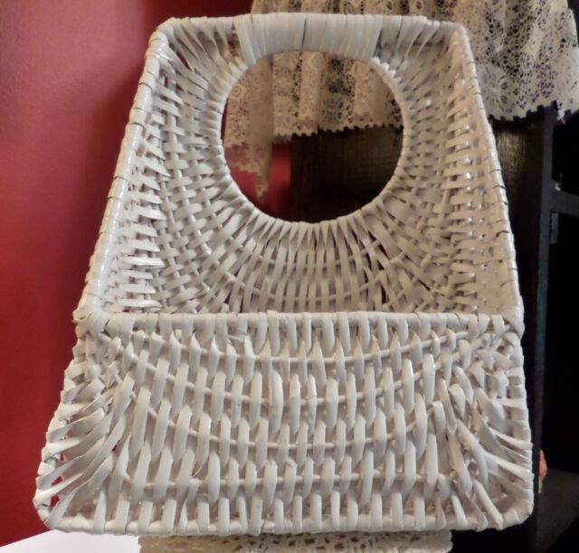 White Split Wood Woven Hanging Wall Basket