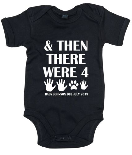 And Then There Were Four Babygrow Dog Mum Cat Vest Cute First Suit Baby Announce
