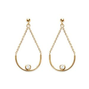 Boucles-d-039-oreilles-Pendantes-avec-Cristal-Oxyde-de-Zirconium-Plaque-or-18-Carats