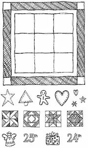 Grandma-039-s-Quilt-Unmounted-Rubber-Stamp-Set