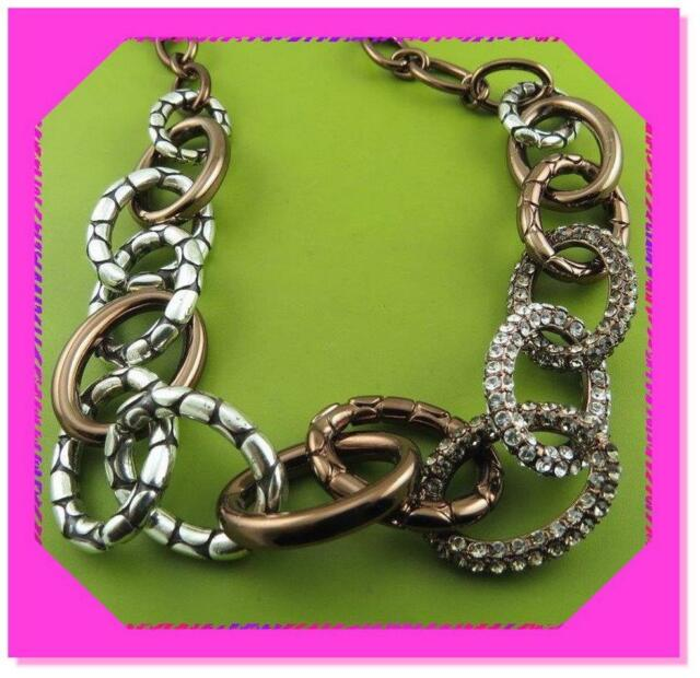 BRIGHTON PEBBLE PAVE Link Brown Chocolate Silver Crystal NECKLACE NWtag $110