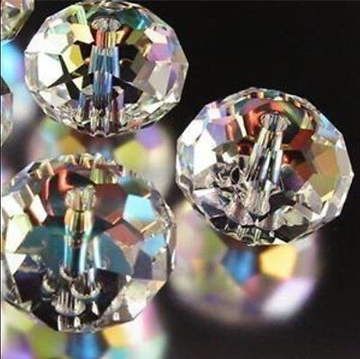 100pcs 3x4mm Clear +AB Crystal Faceted Gems Loose Beads 5040