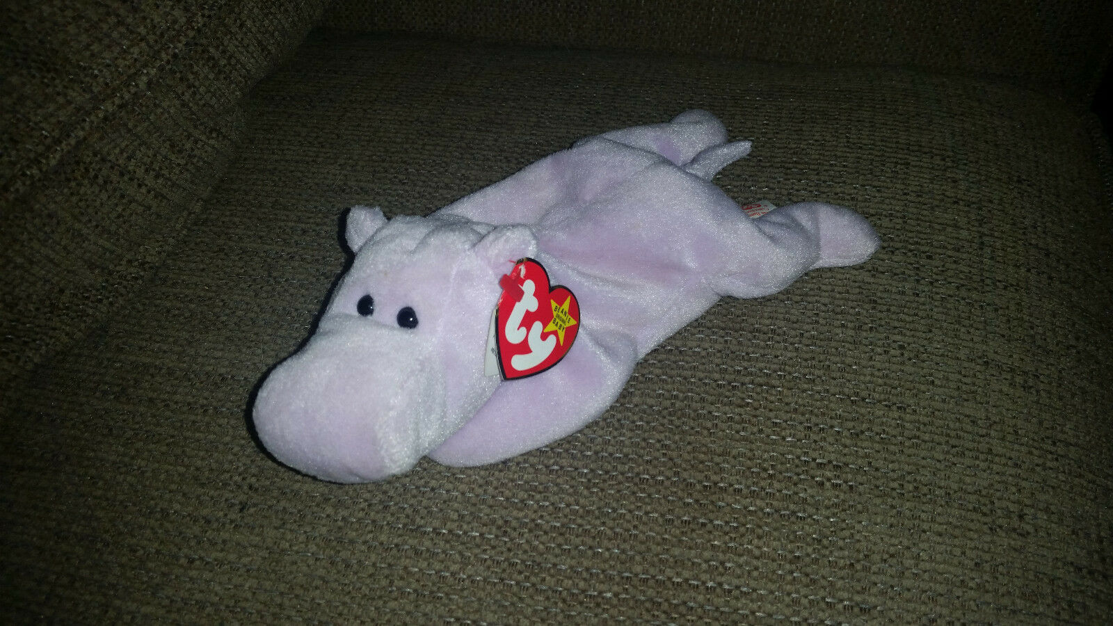 Ty Happy the Hippo RARE Beanie Baby Style 4061 Tag Errors PVC Pellets
