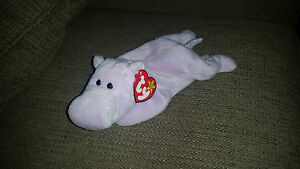 8849f5e7e07 Ty Happy the Hippo RARE Beanie Baby Style 4061 Tag Errors PVC ...