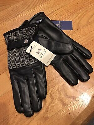 Details about  /Klondike Sterling Wool Blend Leather Glove By Abraham Moon Black Small $160
