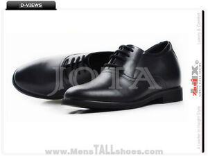 62bcb01b6fe Mens Leather Dress with 2.8 Inch Taller Height Elevator Black Shoes ...