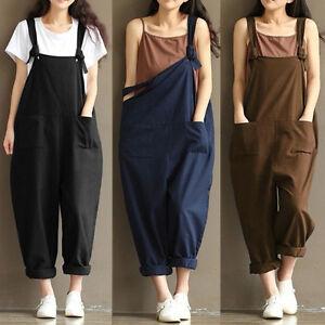New-Trendy-Women-Loose-Linen-Pants-Cotton-Jumpsuit-Strap-Harem-Trousers-Overalls