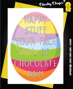 E3 Easter Greeting Card Family Chocolate Funny Comical Humour Alternative  Fun