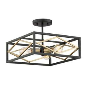 low priced 00b42 6e7b3 Details about Quoizel Platform 14-in W Black With Gold No Glass Modern  Semi-Flush Mount Light