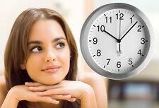Design Wand Uhr Funkuhr leise, großes Ziffernblatt, silber