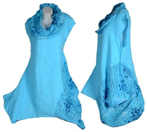 Femmes Lin Superposé Tunique Robe Shirt 44 46 48 50 L XL XXL Turquoise Plage Top