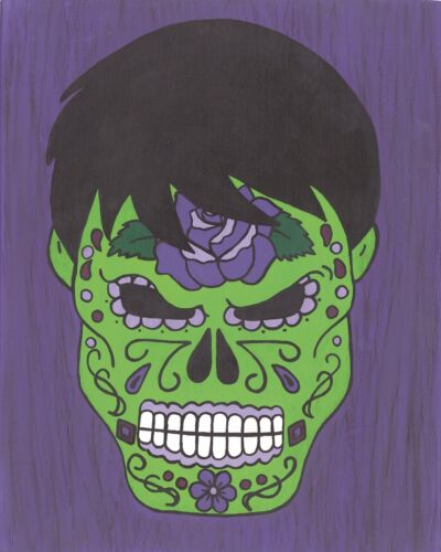 Comic character and Pop Art Incredible Hulk Day of the Dead print 8X10