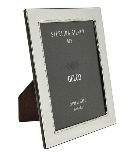 Italian 925 Sterling Silver /& Wooden Glossy Pearl Border Picture Frame