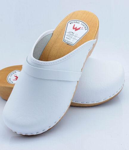 Cuero Mujer Zuecos Hombre de Piel Holzclogs Zapatos de Madera