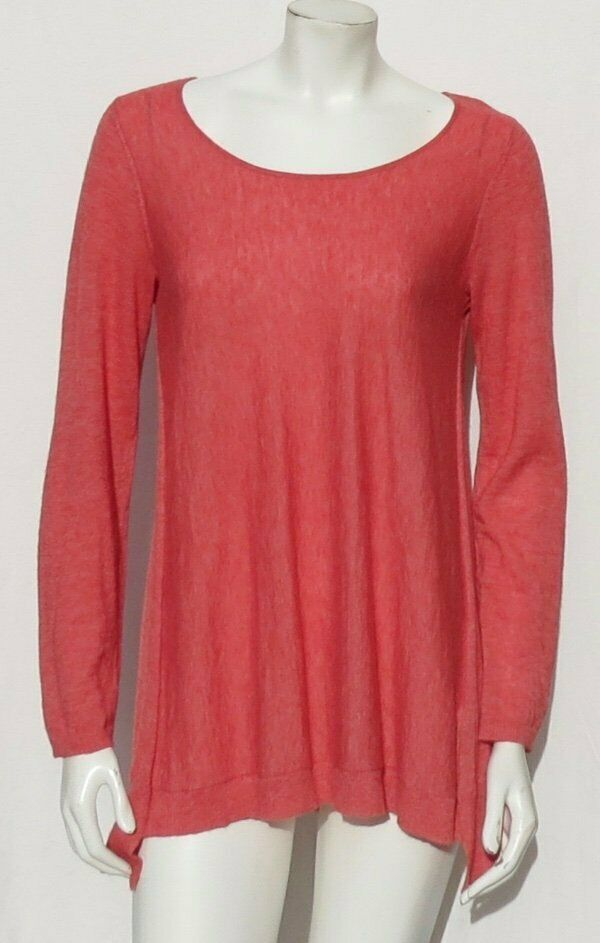 EILEEN FISHER Coral Tencel Merino Wool Alpaca A Line Sweater Tunic Top size XS