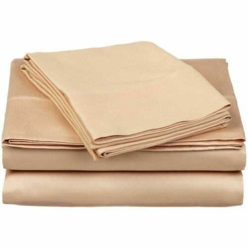 Beige Solid Deep Pocket Bed Sheet Set 1000 Count Egyptian Cotton Sheet