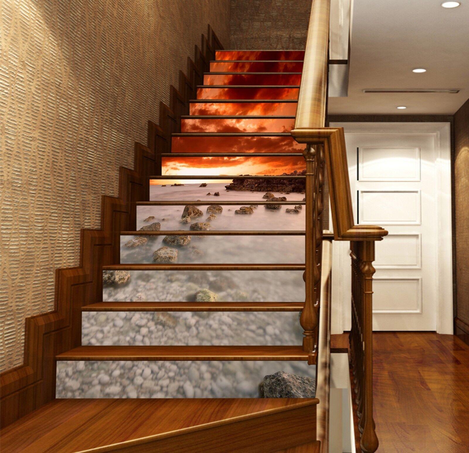 3D Sky Sea 35 Stair Risers Decoration Photo Mural Vinyl Decal Wallpaper UK