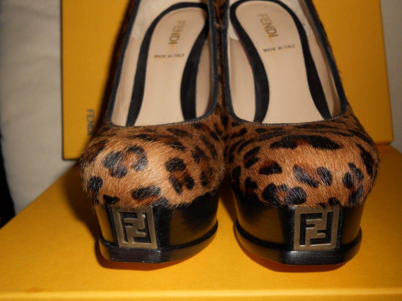 FENDI Léopard Poil De Poney Imprimé Plateforme Logo Logo Logo décolleté Escarpins Chaussures talons 755   03ca34