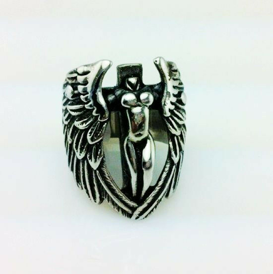 6pc Sexy Boy'z Single Wing Angel style 316L stainless steel rings US size13