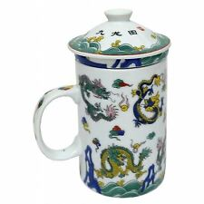 Porcelain Chinese Tea Mug with Infuser and Lid - Eight Dragons Pattern