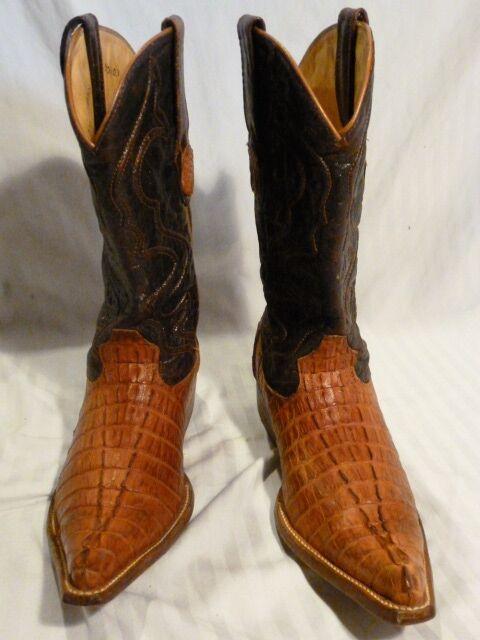 Wild West botas de vaquero, hecho a mano, Cocodrilo Genuinos, tamaño 6 extra ancho, Cuerno Back
